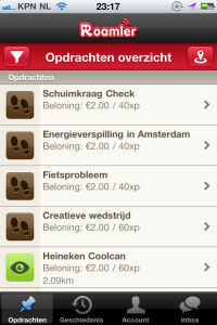 Screenshot van de app Roamler.