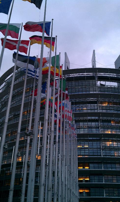 Het EP-gebouw in Straatsburg.