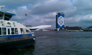 The ferry to Noord, with in the back the EYE film museum and the former Shell tower. (Photo Peter Teffer)