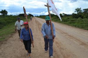 Deelneemster Juana Bejarano (links) tijdens de protestmars.