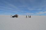 Toeristen in de Salar de Uyuni