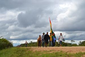 Demonstranten marcheren tegen de aanleg van een snelweg door het Amazone-gebied.